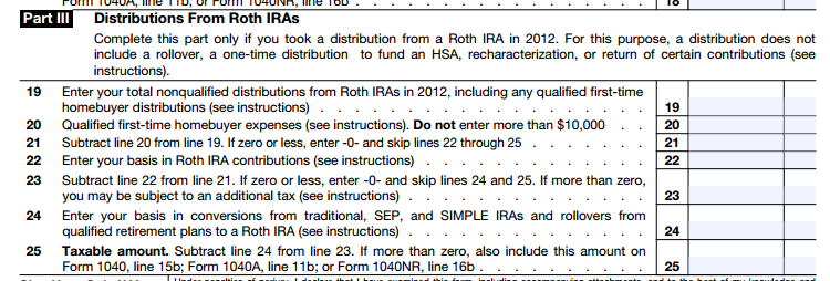 IRS Form 8606, Part III